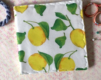 Lemons Needle Case Watercolor Fruit Fabric Pin Keep