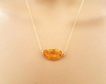 Quartz Necklace, Whiskey Quartz Necklace, Pendant Necklace, Beer Quartz Necklace, Gold Quartz Necklace, Yellow Quartz