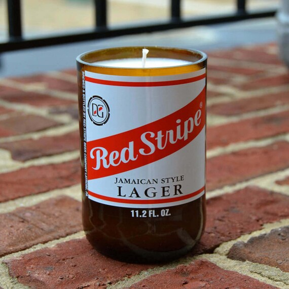 Red Stripe Jamaican style lager beer bottle candle made with soy wax