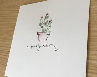 "6 x 6"" Ink and Watercolor Painting - Cactus/ A Prickly Situation"