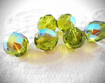 Six beads Bohemian 12 mm faceted, AB olive green color.