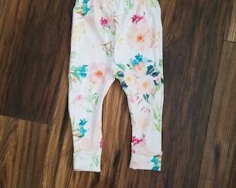 SALE! Floral baby leggings, floral toddler leggings, watercolor floral fabric, baby leggings, tropical floral leggings, toddler leggings