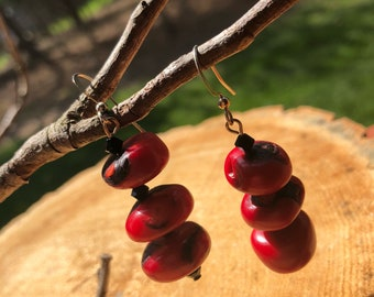 Red Coral Earrings with Swarovski Crystals
