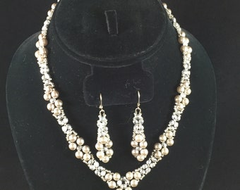 Margie Silver Pearl Necklace, Earrings and Bracelet