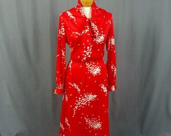 Henry Lee Dress, Red and White Dress, 1970s Dress, Summer Dress, 70s Polyester Dress