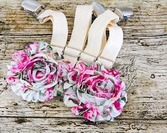 Pretty Pink & Cream THIGH HIGH sock GARTERS - Elastic crocodile clips onto Lingerie - Shabby flowers/roses Suspenders - Romantic Garters