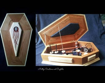 Mini Altar with Spiritual Tools - Coffin Altar, Travel Altar, Pagan Altar, Wiccan Altar Kit, Altar Box, Coffin Box, Coffin Altar,Altar Tools