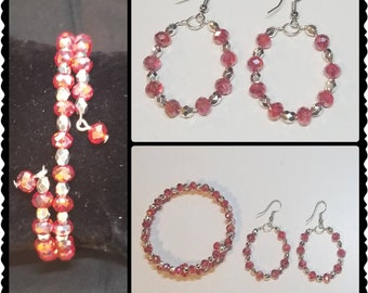 Red and Silver Handmade Wrapped Bracelet and Earring Set