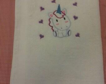 Unicorn Embroidered Bath Towel