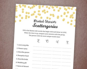 Bridal Shower Scattergories Printable, Gold Confetti Wedding Shower, Bridal Scattergories, Instant Download, Bachelorette Party Game, A001
