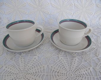 Pfaltzgraff, Juniper Pattern,Stoneware, Vintage, 2 Cups and 2 Saucers, Made in the U.S.A., During the 1990's, Very Good Condition