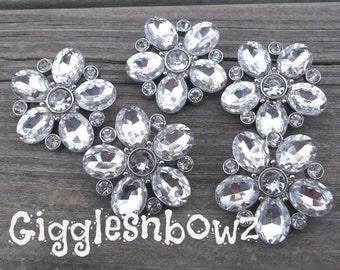 5 Clear Rhinestone Buttons- Starburst Rhinestone Buttons 26mm- Diy Supplies- Headband Supplies- Brooch Bouquet- Diy Wedding- Sewing Button