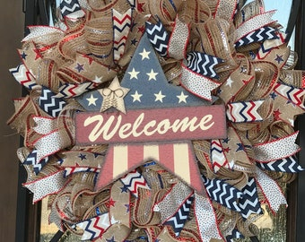 Memorial Day wreath, 4th of july, july 4th, american flag wreath, patriotic wreath, red white and blue, Stars and Stripes, veterans day