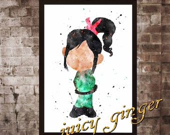 Vanellope von Schweetz Poster, Wreck-It Ralph Watercolor, Home Decor, Art Print, instant download, digital printing, watercolor printing