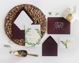 Rosemary and Gold Foil Party Stationery Set Printables!