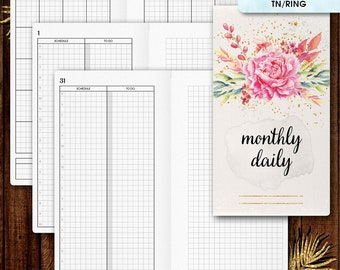Personal inserts | DAILY planner printable, day on two pages (filofax personal, TN inserts, tn personal inserts, travelers notebook)