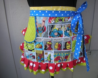 Womens Aprons - Womens Action Heros Aprons - X-Men Aprons - Comic Fury Aprons - The Hulk  Apron - Annies Attic Aprons - Marvel Comics Aprons
