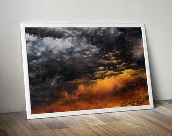 dramatic sky art print -  storm sky watercolor print - watercolor clouds painting - dark clouds art print - orange-purple giclee art print