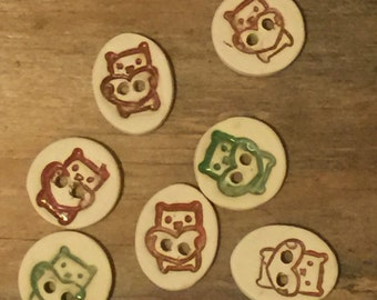 FREE SHIPPING Set of 7 Handmade Ceramic Buttons - Bears