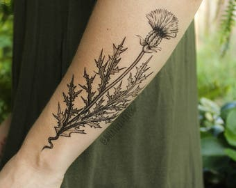 Purple Thistle Flower Temporary Tattoo, Black Line Drawing, Nature Tattoo