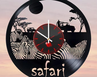 Safari Africa Animals Vinyl Record Wall Clock
