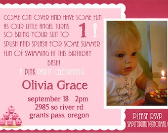 YOU PRINT!!! - Summer splash Birthday Party invitation! Customized for you !!