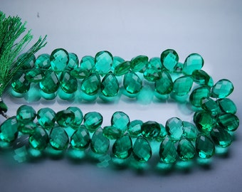 8 Inch Strand, Emerald Green Quartz Faceted Pear Shape Briolettes, Size 14mm