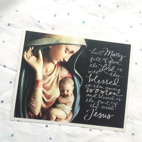 Catholic Print * Hail Mary Handlettered Print * Prayer Print * 8x10 inch Art Print * Catholic * Christian * Religious Art