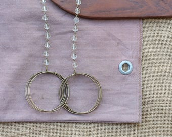 Glass & Hoop Necklace | Vintage Necklace | Brass Necklace