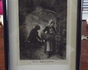 Engraving of 1882 silk staged in Provence south of France.Ancienne engraving 1882 staged silk in Provence South of the France