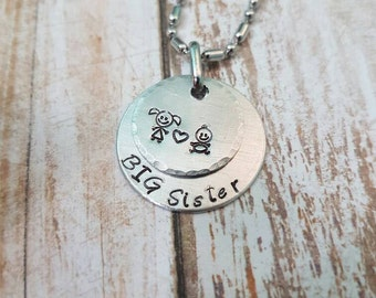 Big Sister hand stamped personalised children's necklace