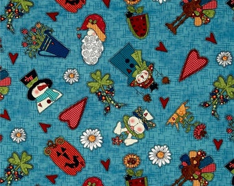 Fat Quarter Adorable Fabric to Celebrate all the Holidays / Seasons Teal Background