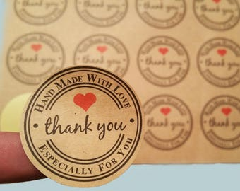 THANK YOU STICKERS 120 pcs 240 pcs, hand made stickers, packaging stickers, handmade with love, kraft stickers, gift tags, thank you decal