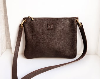 Leather crossbody bag with zipper pocket, Dark brown leather bag, Cross body purse