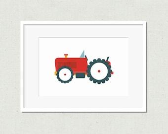 Kids room art, nursery art, kids art, nursery print, tractor print, modern nursery art, nursery decor, red tractor, tractor, tractor art