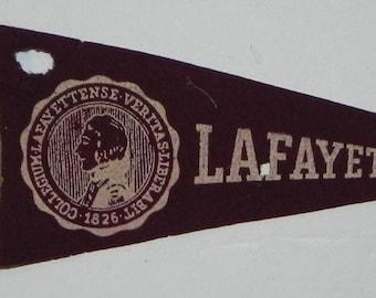 1930's Lafayette College Mini Pennant - Antique College Memorabilia