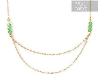 Double green necklace, gold filled necklace, green necklace, Swarovski necklace, nature necklace, simple necklace, minimal necklace, double
