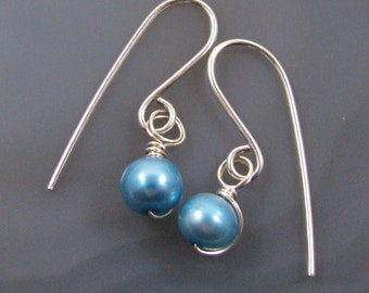 Blue Freshwater Pearl Earrings - sterling silver, wire wrapped, delicate, small, 6mm, round, bright blue