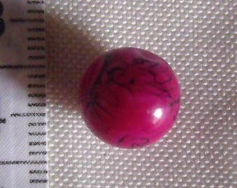 glass beads, set of 20, fuchsia, with black strokes, 10mm