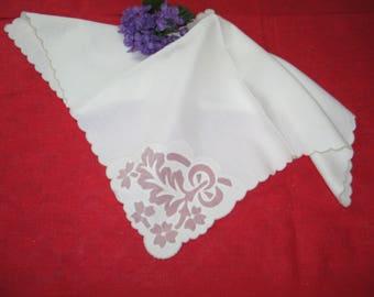 Antique Vintage 10 piece Set MADEIRA Napkins-Lapkins fine Linen Hand Embroidery & Shadowork Applique