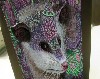 greeting card print of original art-  opossum Zentangle spirit animal