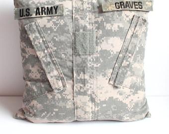 Custom ACU Pillow Cover - Army Combat Uniform - Memory Pillow