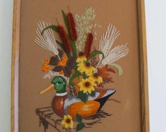 Crewel Art, Crewel, Crewel Duck, Vintage Crewel, Fiber Art, Wall Hangings, Art, Embroidery, Hand Stitched Art, Ducks, Duck Decor Cabin Decor