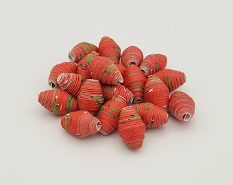 Christmas Red | Paper beads | Paper Bead Jewelry | Recycled Upcycled | Loose Paper Beads | Jewelry Supplies | Beading Supplies | Bicone