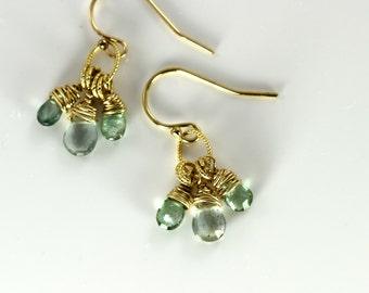 Gold Aquamarine Earrings, March Birthstone Earrings, Gemstone Earrings, Green And Blue Earrings