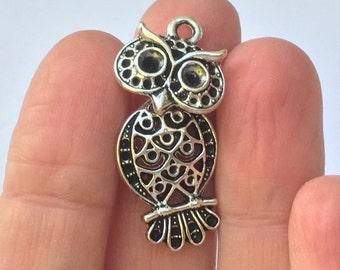 6 Owl Charms Antique Silver 3.4cm x 1.6cm - OWL02