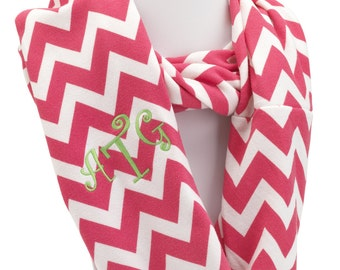 ON SALE - Pink Chevron Infinity Scarf - ZigZag Scarves in Soft Polyester