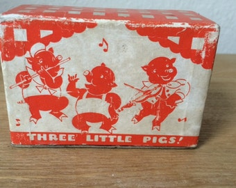 SALE!!!-Vintage Two (2) Complete Decks of Three Little Pigs Playing Cards, Black & Green Vintage Swap Cards