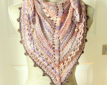 SALE - Handknit Women Triangle Scarf Shawl Style Neckwrap with Bead Dangles - Lavender and Pinks