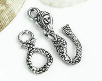 15%OFF Mermaid Hook & Eye Toggle clasp Beautiful Antique Silver lead free Pewter Beach jewelry sea fantasy nautical clasps Made in USA 1set